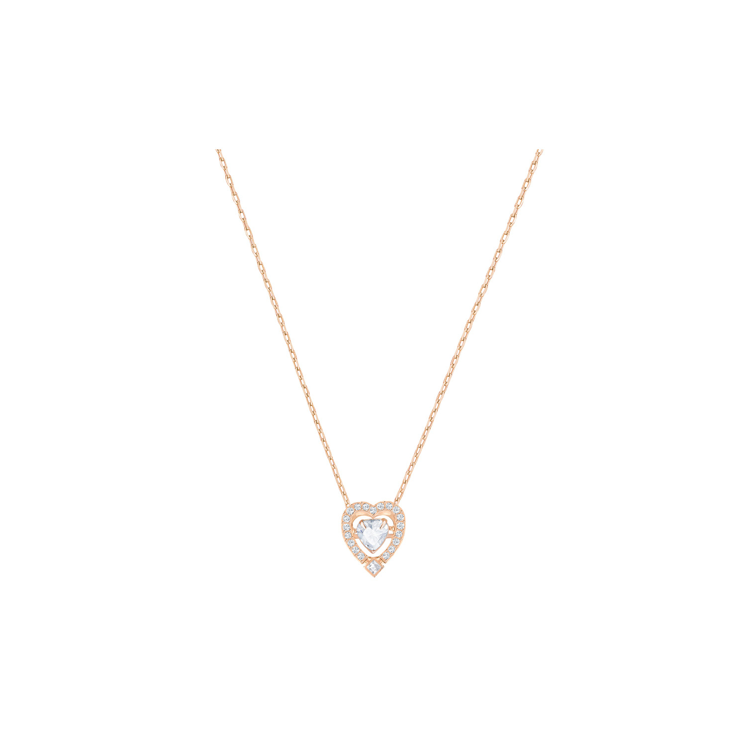 Swarovski Sparkling Dancing Heart Shapped Stone Necklace Rose Gold Intended For Current Sparkling Stones Pendant Necklaces (View 5 of 25)