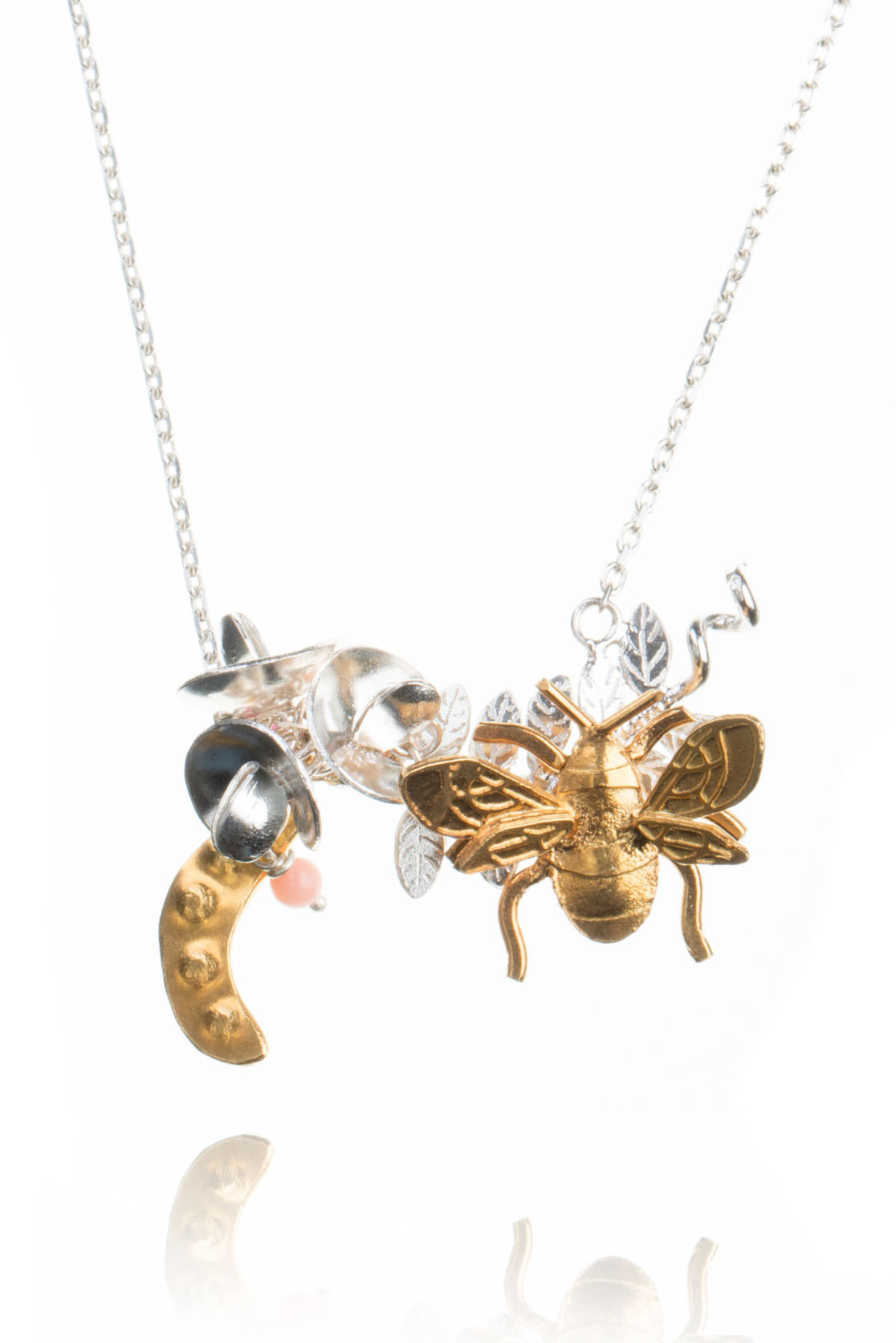 Sweet Pea And Bee Necklace In Most Up To Date Bee Locket Element Necklaces (View 25 of 25)