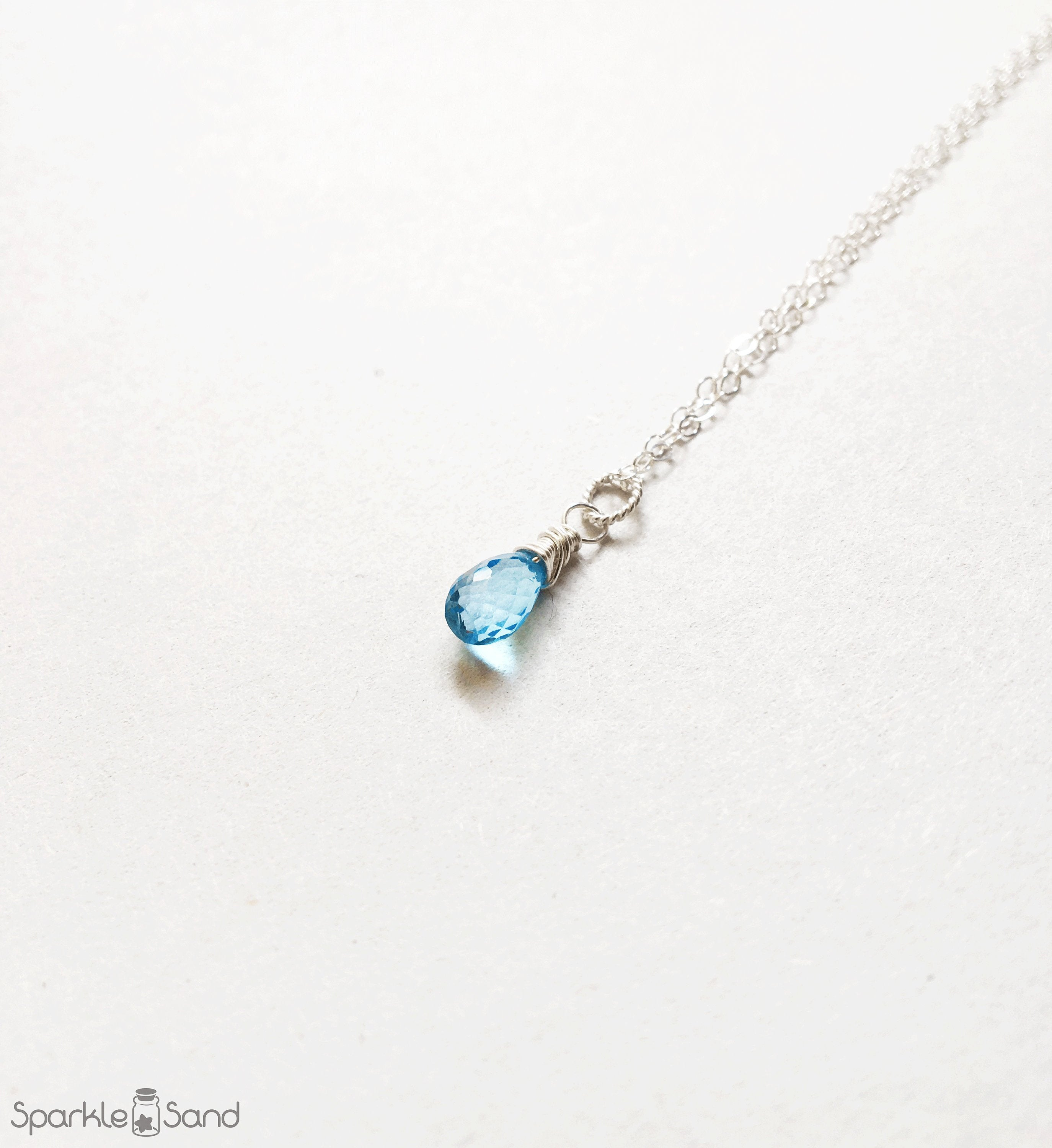 Swiss Blue Topaz Necklace, Minimalist Gemstone Necklaces, Genuine Topaz Gem Stone, December Birthstone Jewelry, Sterling Silver Gift Idea Inside Most Up To Date London Blue Crystal December Droplet Pendant Necklaces (View 6 of 25)