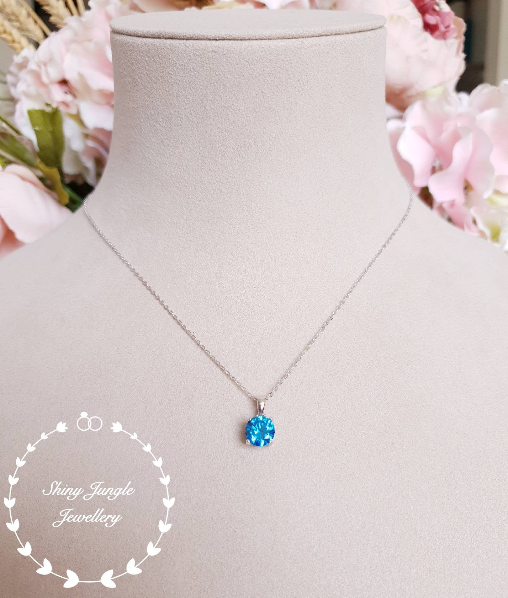 Swiss Blue Topaz Pendant, 2 Carats Round Cut Blue Topaz Necklace Regarding Most Recently Released London Blue December Birthstone Locket Element Necklaces (View 22 of 25)