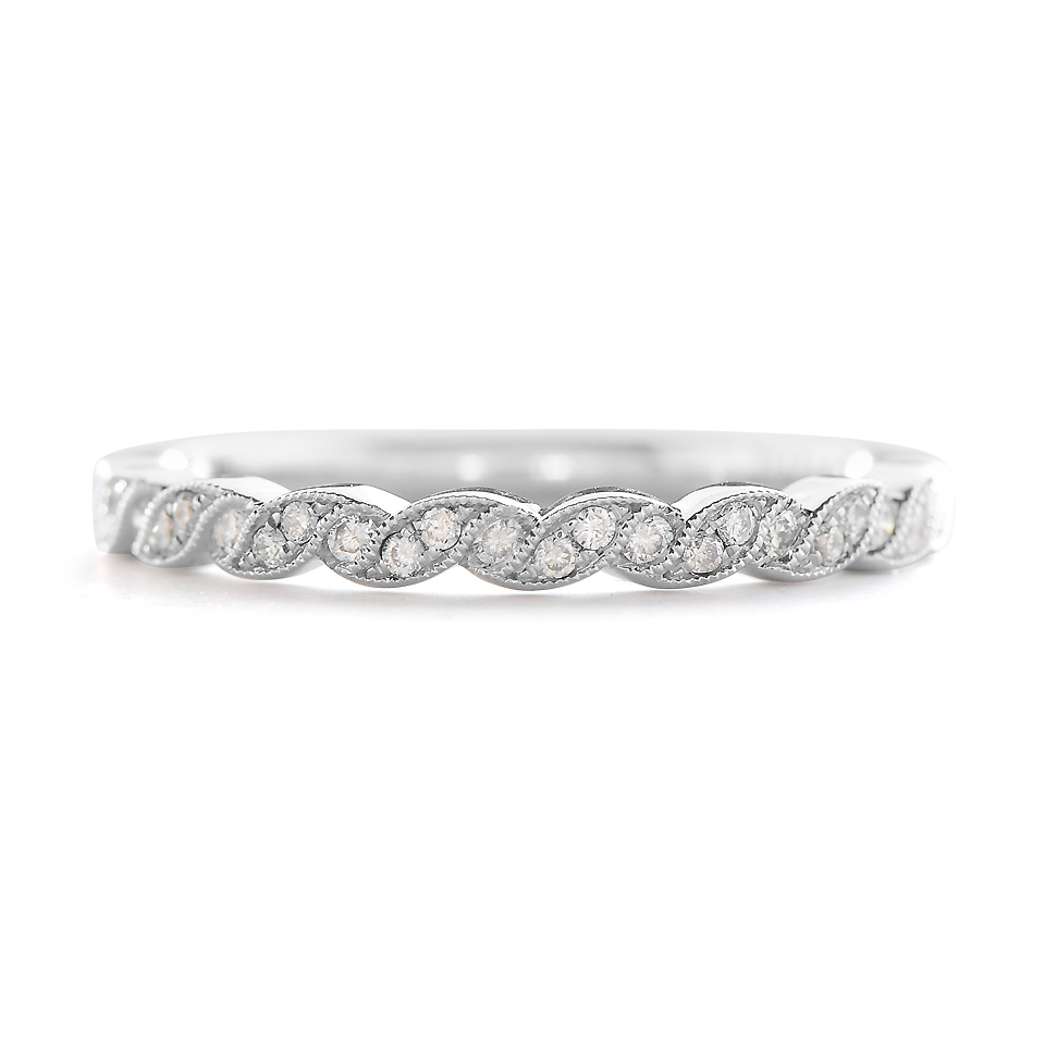 Sylvie Braided Pattern Diamond Wedding Band Regarding Most Current Diamond Braid Anniversary Bands In White Gold (Gallery 21 of 25)