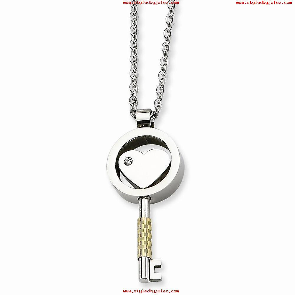 Synthetic Cz Heart Key Pendant Necklace In Stainless Steel – Lobster With Most Recently Released Beaded Heart Key Locket Element Necklaces (View 21 of 25)
