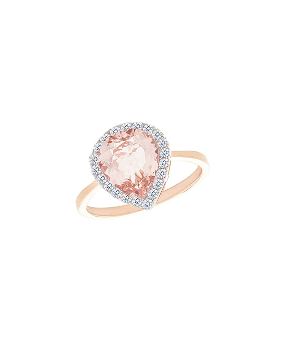 Take A Look At This Cubic Zirconia & Morganite Topaz Teardrop Halo With Most Popular Sparkling Teardrop Halo Rings (Gallery 17 of 25)