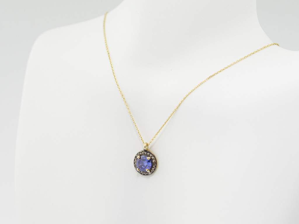 Tanzanite & Diamonds | Gold Necklace With Silver And Black Rhodium Pertaining To 2019 London Blue December Birthstone Locket Element Necklaces (View 13 of 25)