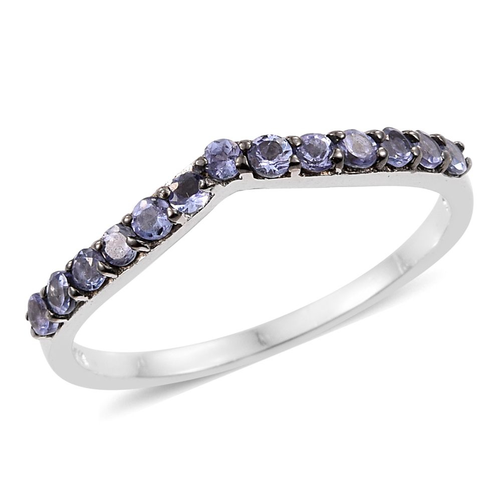 Tanzanite Platinum Over Sterling Silver Wishbone Ring (Size 9.0) Tgw 0.63  Cts (View 18 of 25)
