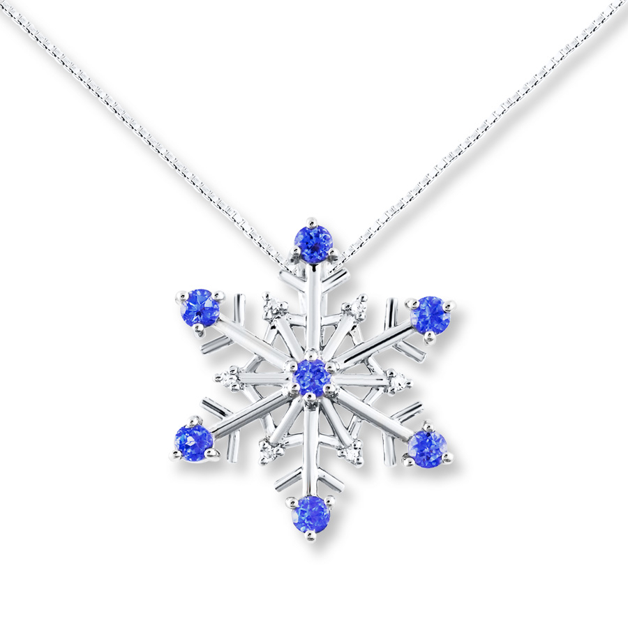 Tanzanite Snowflake Diamond Accents Sterling Silver Necklace With Regard To Most Up To Date Shimmering Snowflake Locket Element Necklaces (View 14 of 25)