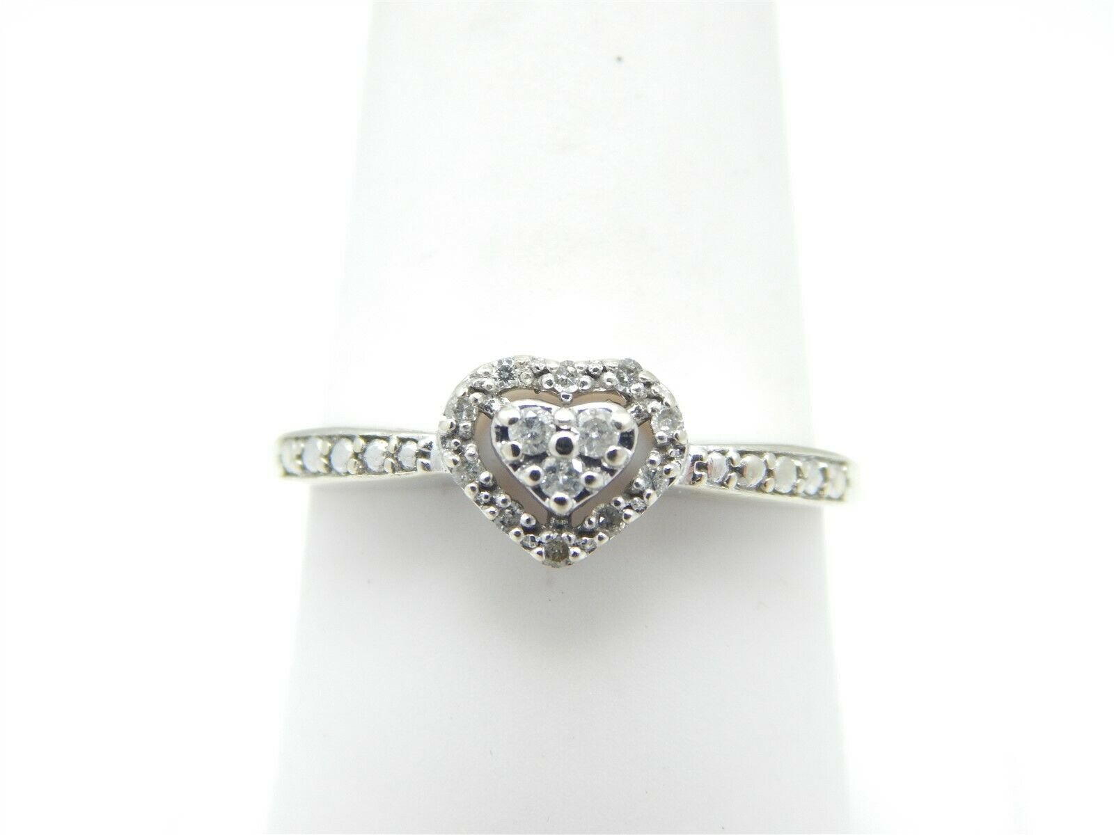 Tcw .25 Ring Heart Diamond Gold White Size 10k Included Box In Most Recently Released Enhanced Black And White Diamond Three Row Anniversary Bands In White Gold (Gallery 15 of 25)