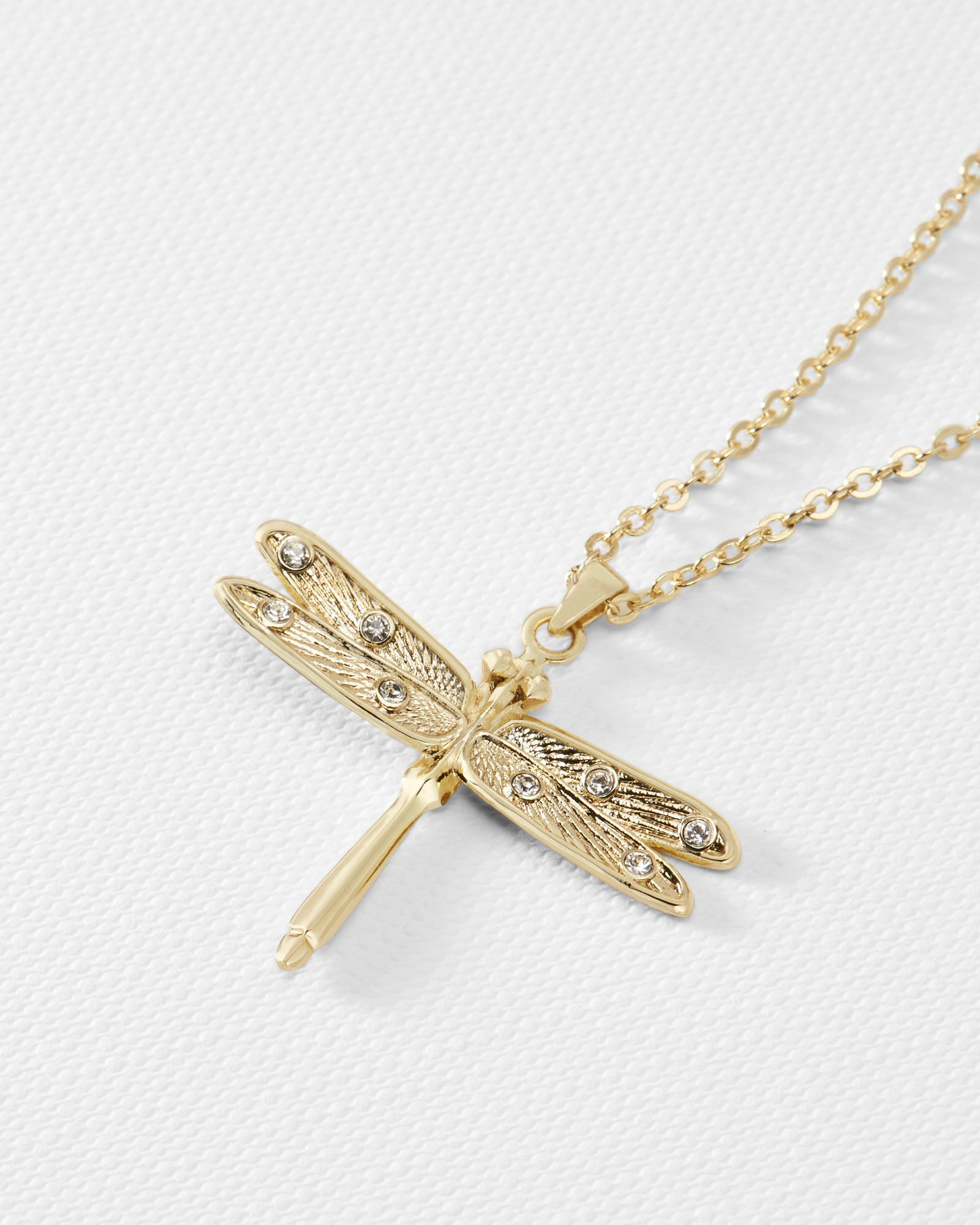 Ted Baker Metallic Dragonfly Small Pendant With Most Recent Sparkling Dragonfly Y  Necklaces (View 23 of 25)