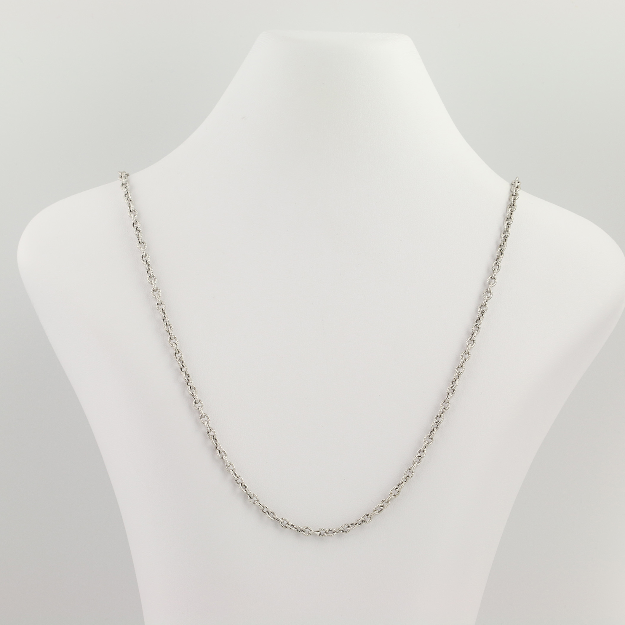 """Textured Cable Chain Necklace 28""""  18K White Gold Long Length High Karat In Newest Long Link Cable Chain Necklaces (Gallery 8 of 25)"""