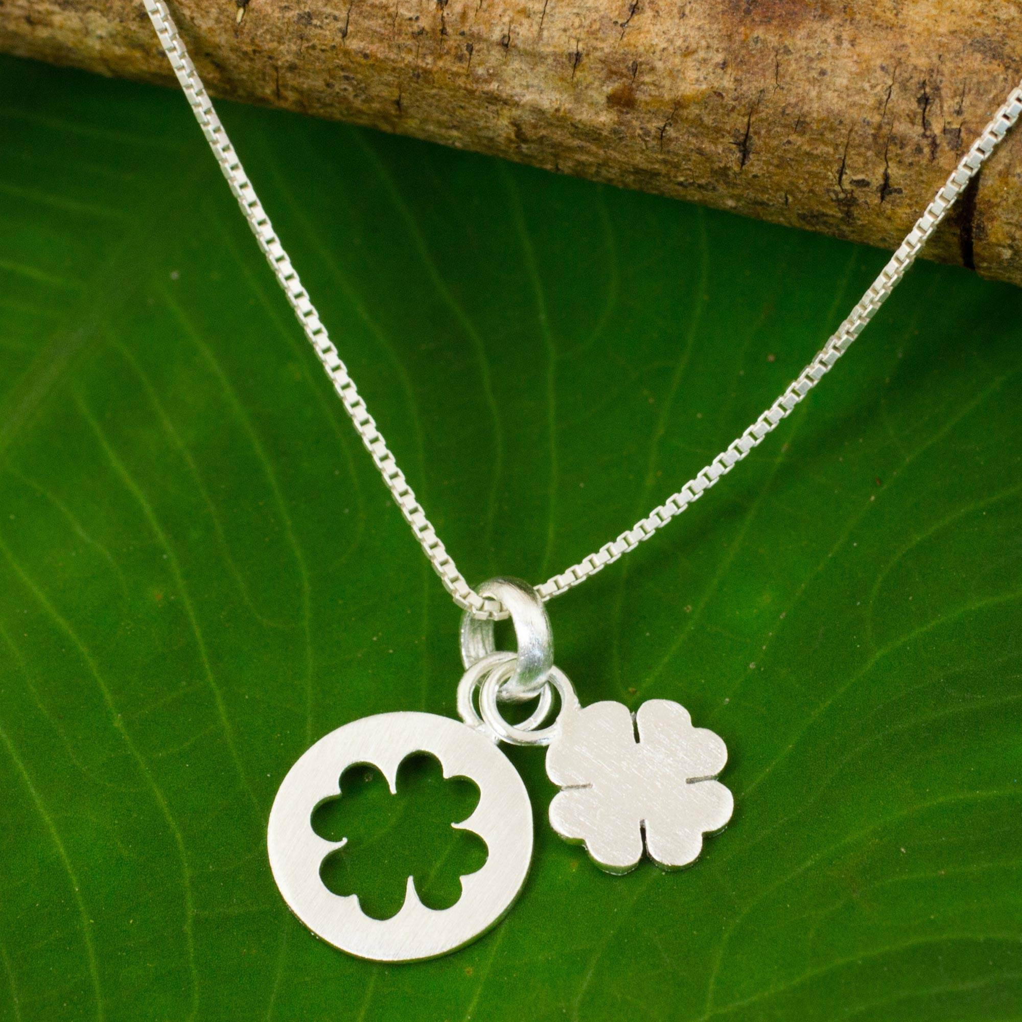 Thai Brushed Sterling Silver Lucky Clover Pendant Necklace, 'four Leaf  Clover' Within Most Recently Released Lucky Four Leaf Clover Dangle Charm Necklaces (View 23 of 25)