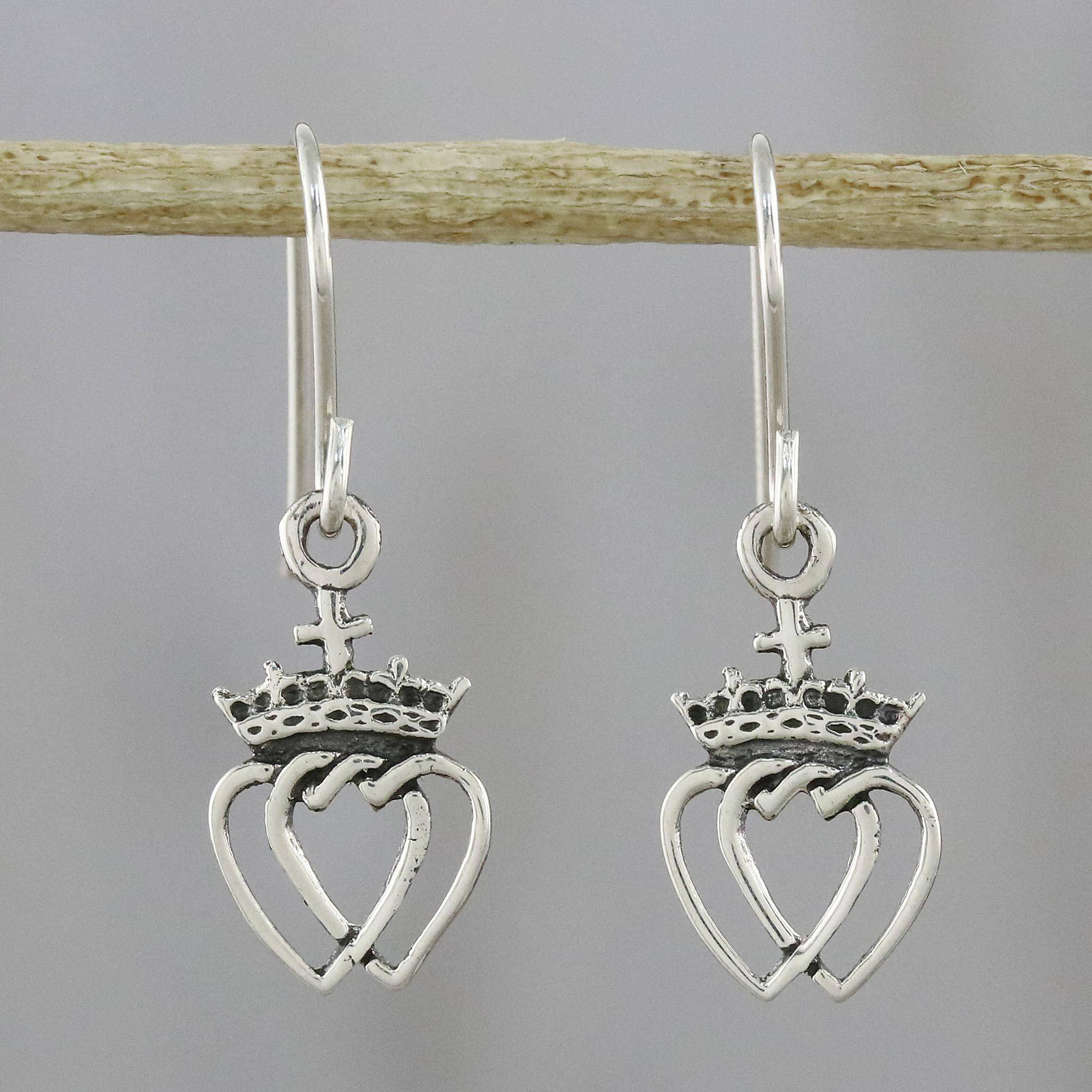 Thai Sterling Silver Dangle Earrings With Crowns And Hearts, 'crowned  Hearts' In Best And Newest Crown & Interwined Hearts Pendant Necklaces (Gallery 22 of 25)
