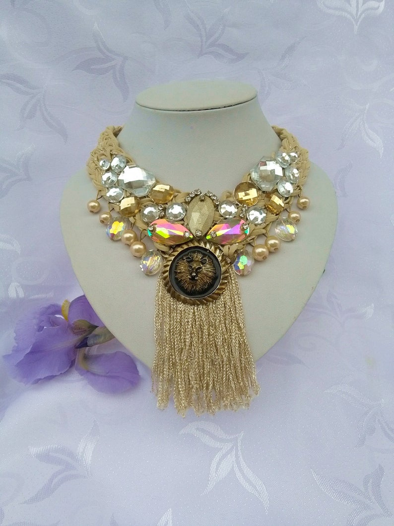 The Lioness Statement Necklace Powerful Bib Tassels Necklace Beige Gold Boho Indian Necklace Bling Bib Necklace Wedding Jewelry Unique Ooak Pertaining To Most Current Sparkling Lioness Heart Pendant Necklaces (View 11 of 25)
