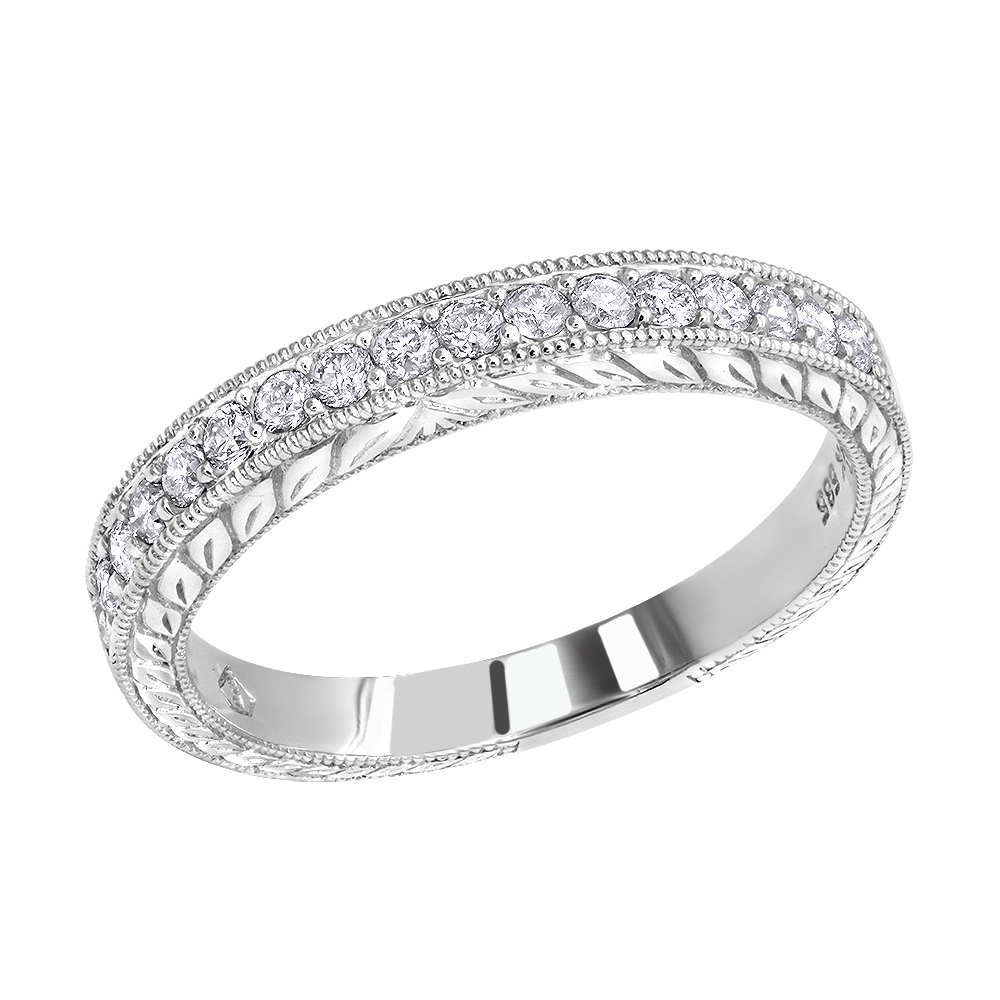 Thin 14K Gold Diamond Wedding Band For Women Vintage Filigree Look 1/2Ct For Most Up To Date Diamond Eternity Anniversary Vintage Style Bands In White Gold (Gallery 23 of 25)