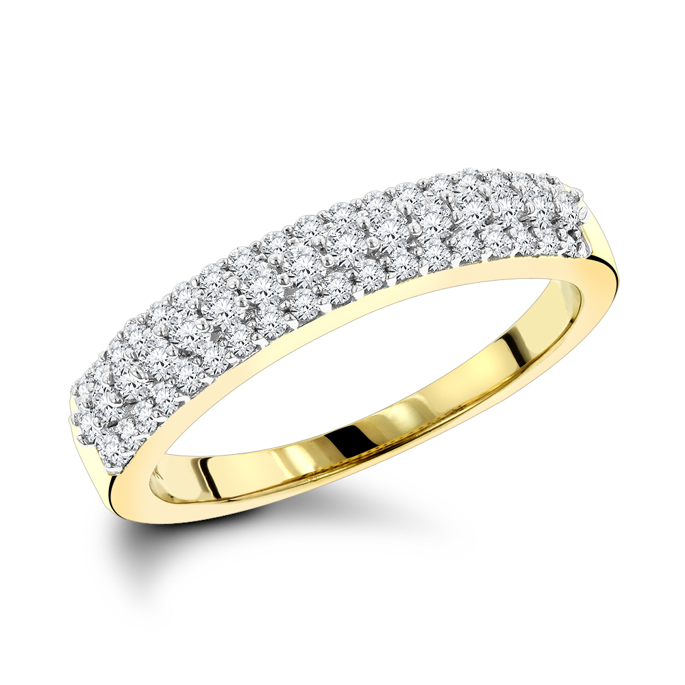 Thin Diamond Wedding Bands 14k Gold 3 Row Diamond Band (View 7 of 25)