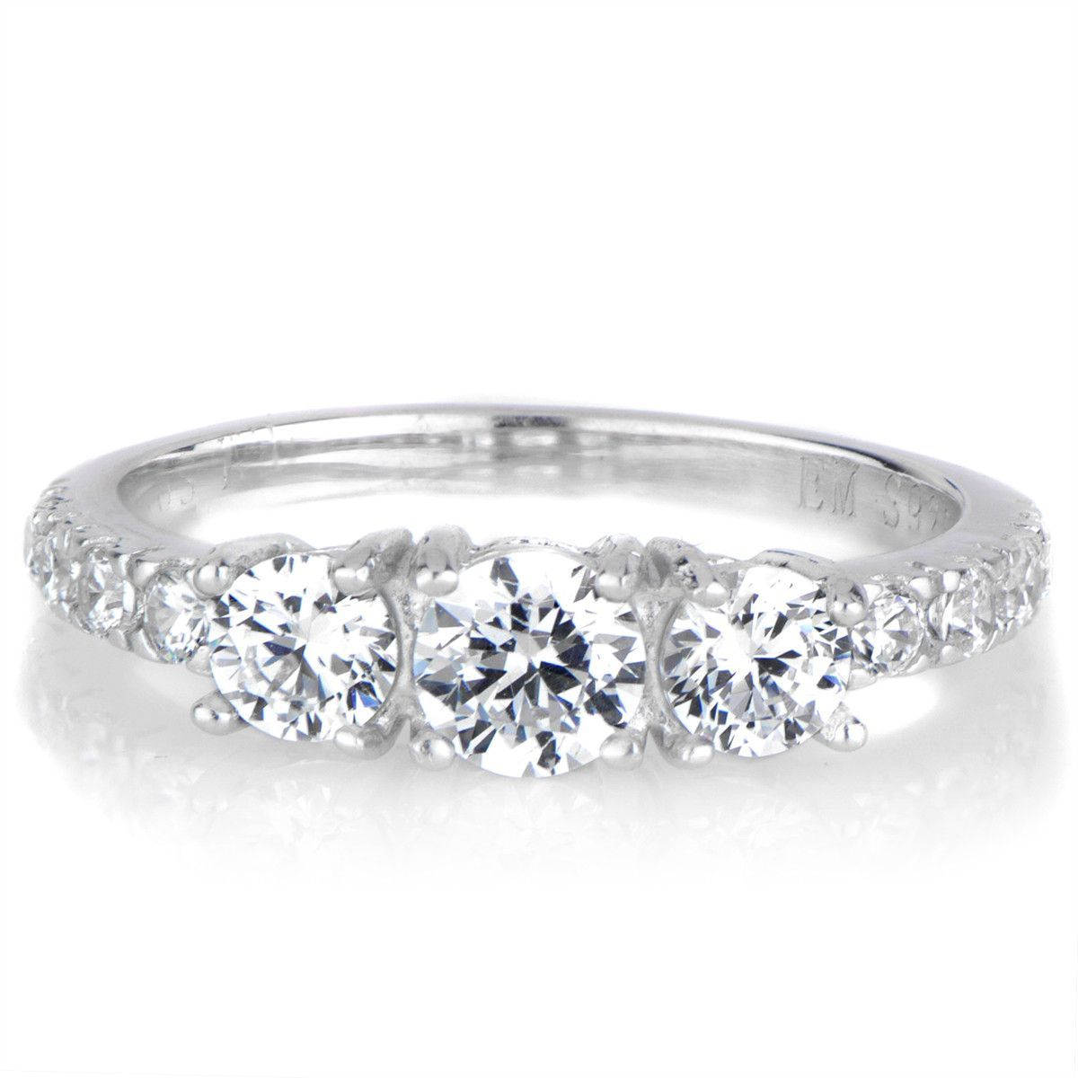 This Petite Three Stone Ring Features 3 Clear, Round Cut Cz Diamonds In 2018 Clear Three Stone Rings (View 15 of 25)