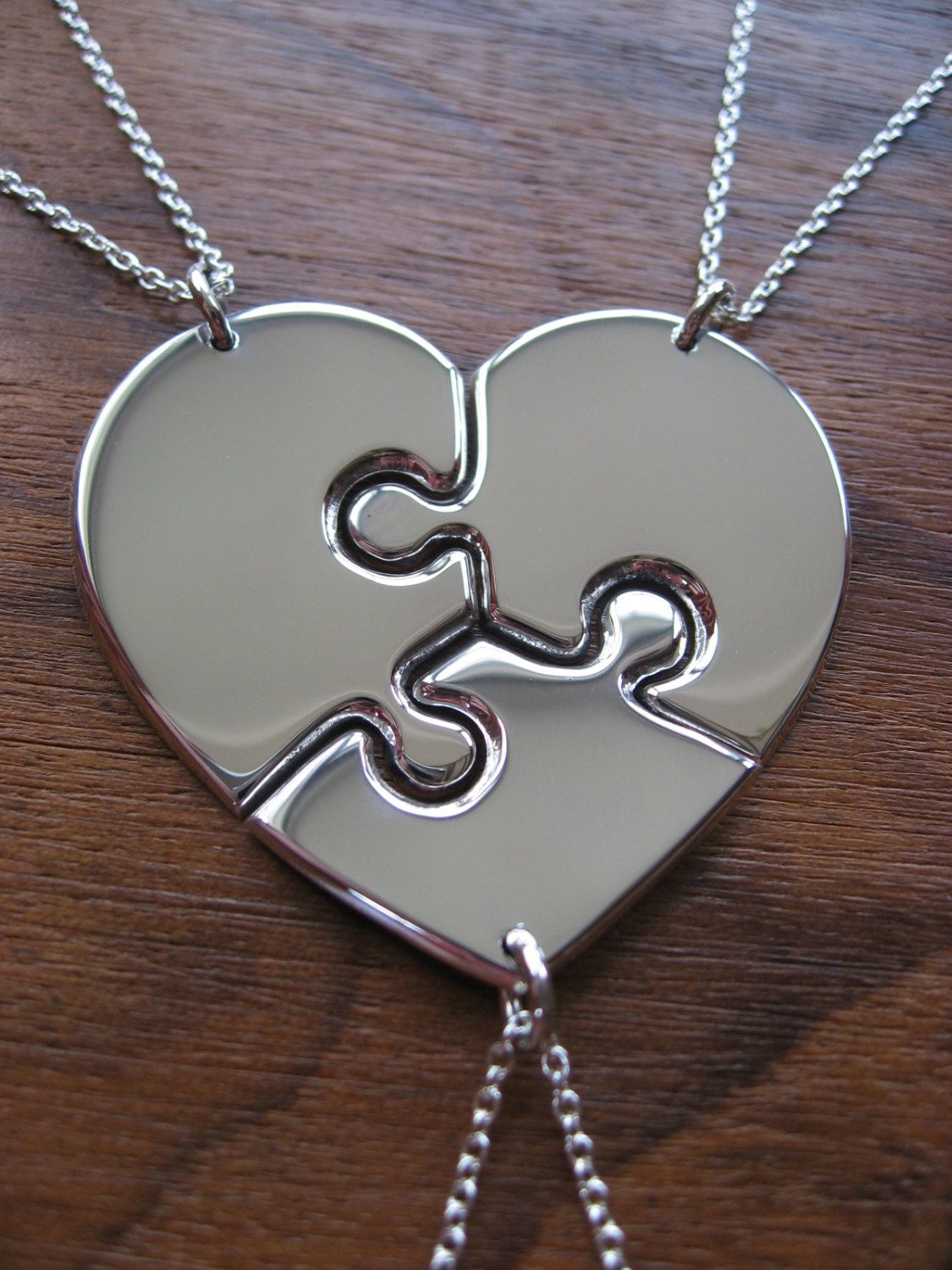 Three Piece Heart – Silver Puzzle Pendants – Bridesmaid Necklaces Inside Recent Ice Crystal Heart Collier Necklaces (Gallery 25 of 25)