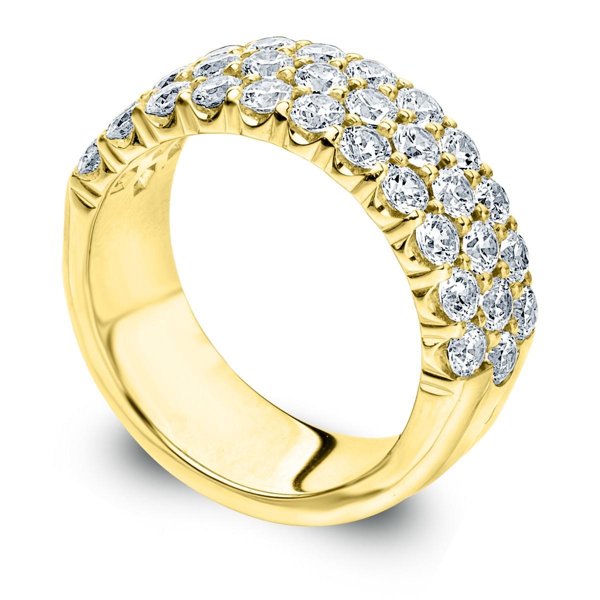 Three Row Diamond Ring | 3 Row Diamond Wedding Band Regarding Most Popular Diamond Three Row Tiered Anniversary Bands In White Gold (View 2 of 25)