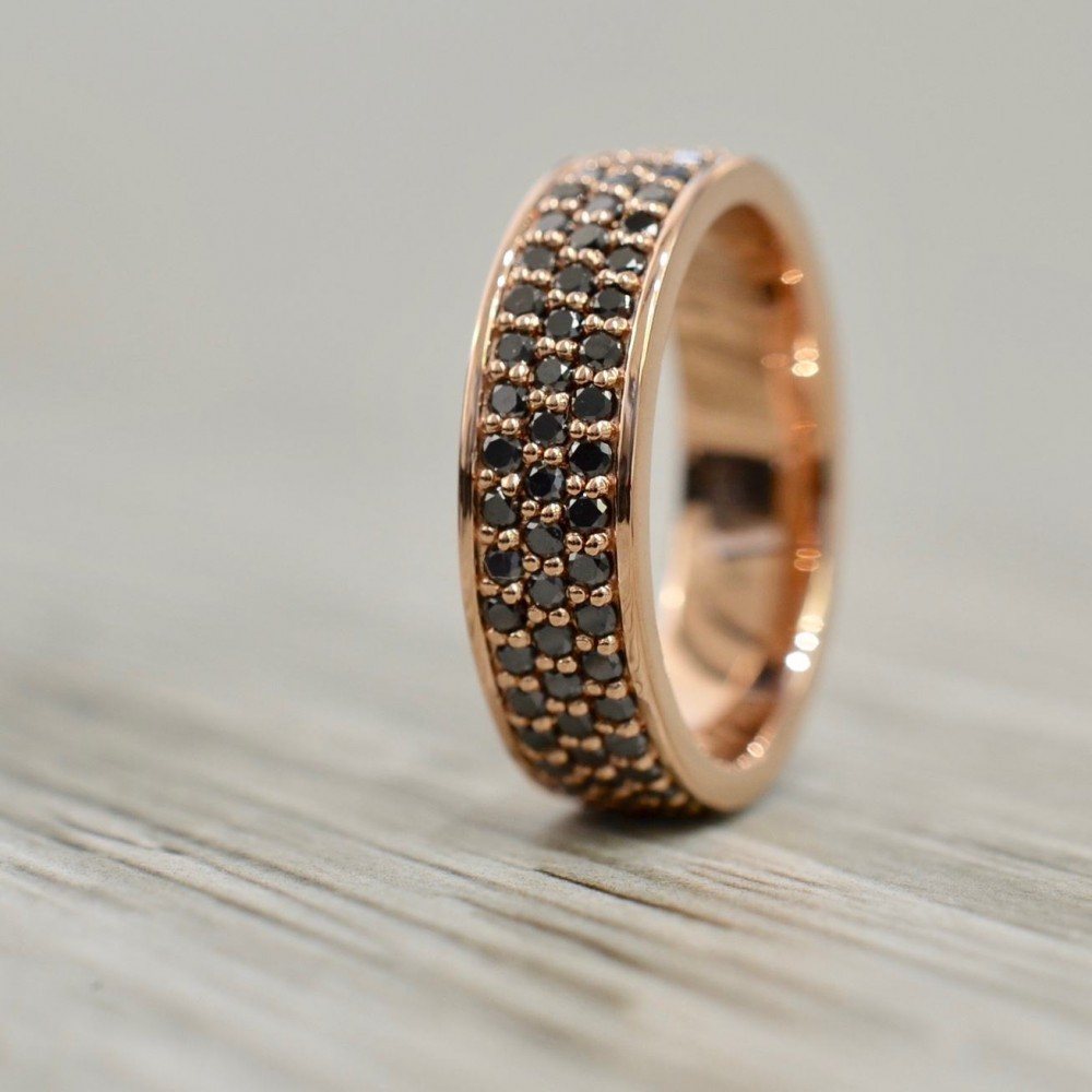 Three Row Flat Edged Black Diamond Eternity Band 6.5Mm In Rose Regarding Most Current Diamond Three Row Anniversary Bands In Rose Gold (Gallery 23 of 25)