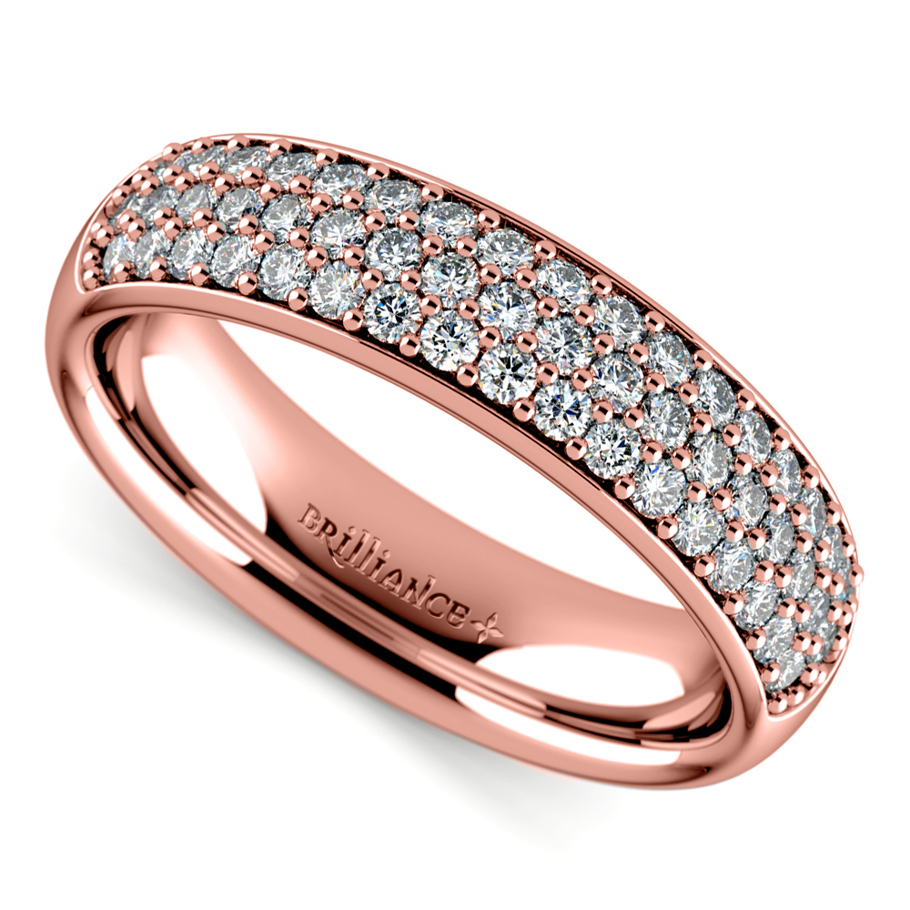 Three Row Pave Diamond Wedding Ring In Rose Gold Pertaining To Newest Diamond Three Row Anniversary Bands In Rose Gold (View 22 of 25)