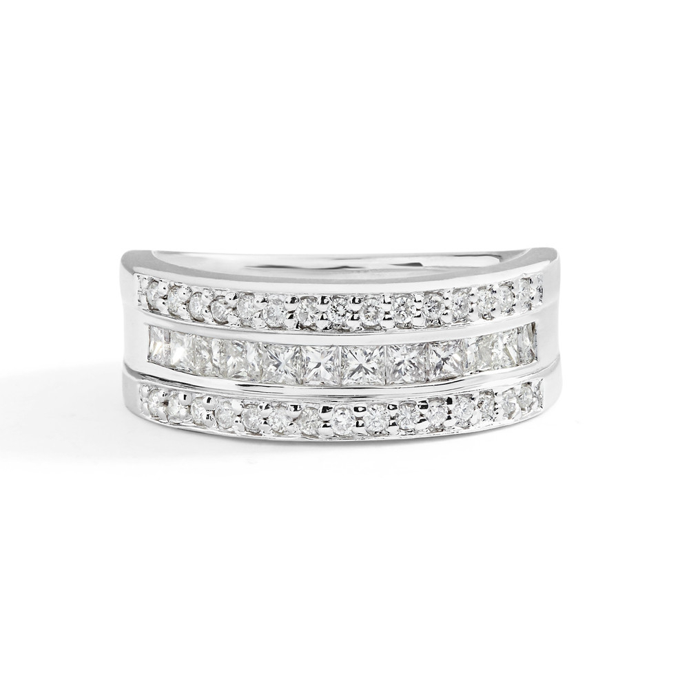 Three Row Princess Cut And Round Diamond Ring In 14K White Gold For Most Up To Date Princess Cut And Round Diamond Anniversary Bands In White Gold (Gallery 13 of 25)