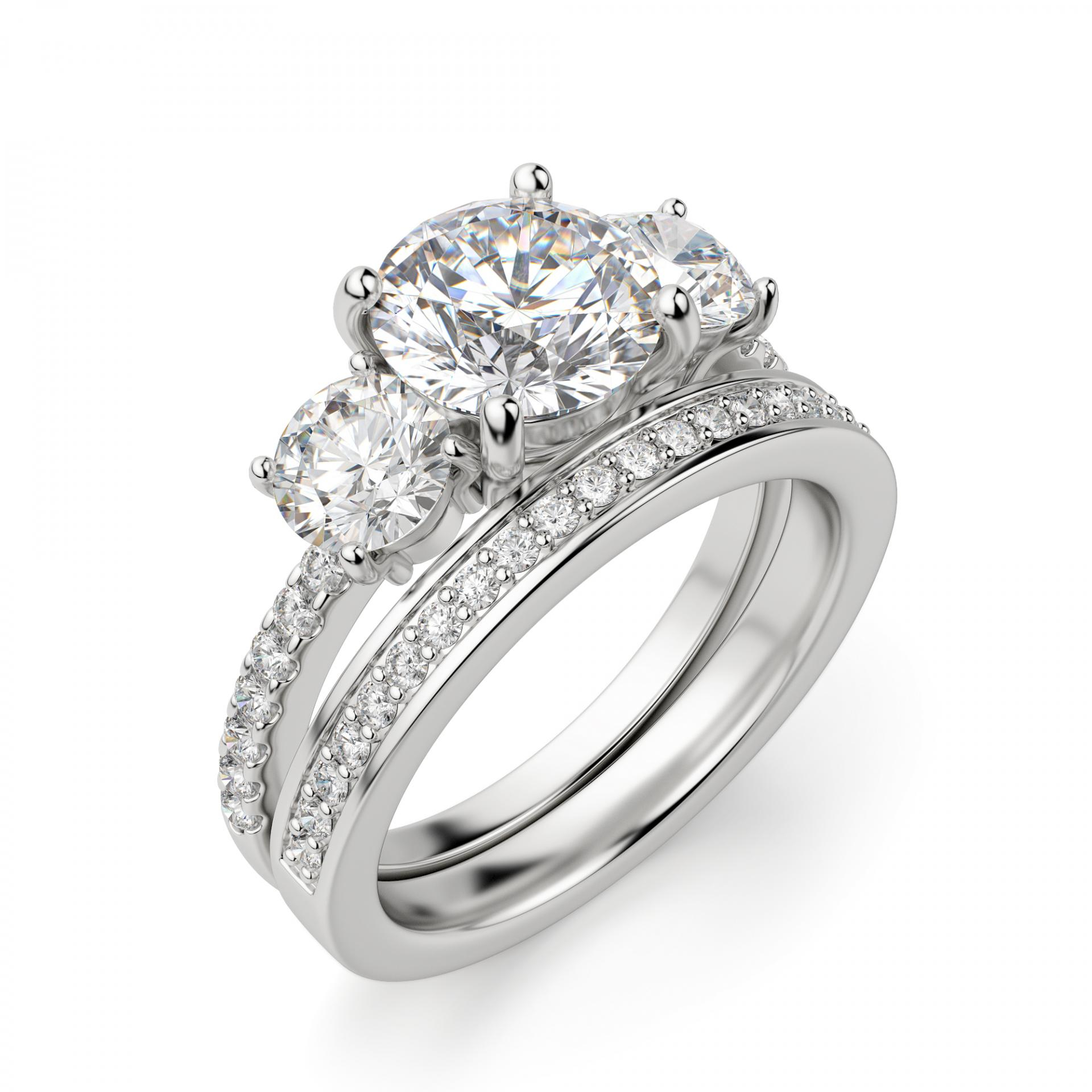"""Three Stone Accented Round Cut Engagement Ring Within Newest Diamond Accent Five Stone """"s"""" Anniversary Bands In White Gold (Gallery 25 of 25)"""