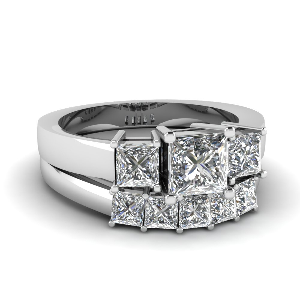 Featured Photo of Princess Cut Diamond Three Stone Anniversary Bands In White Gold