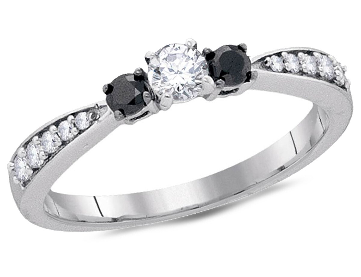 Three Stone Enhanced Black Diamond Engagement Ring 3/8 Carat (ctw) In 10k White Gold With Best And Newest Enhanced Black And White Diamond Vintage Style Anniversary Bands In Sterling Silver (View 14 of 25)