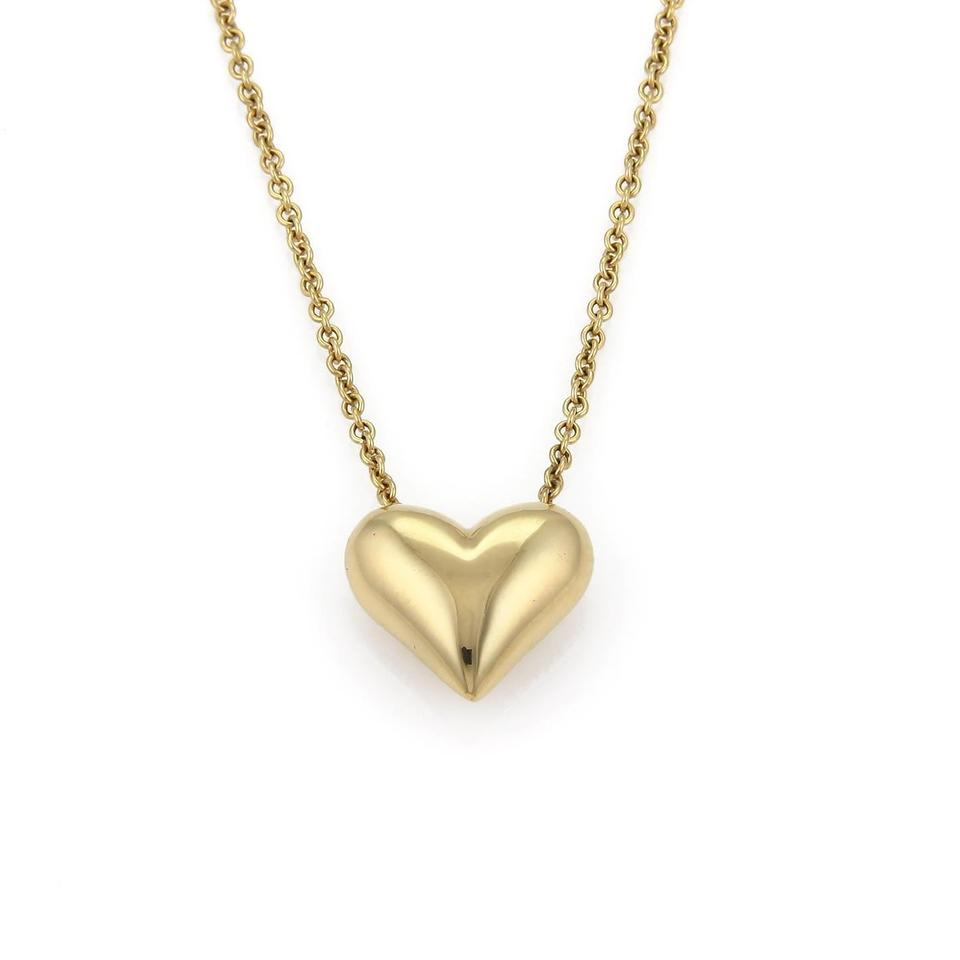 Tiffany & Co. Classic 18K Yellow Gold Puffed Heart Pendant Chain Necklace Within Recent Joined Hearts Chain Necklaces (Gallery 23 of 25)