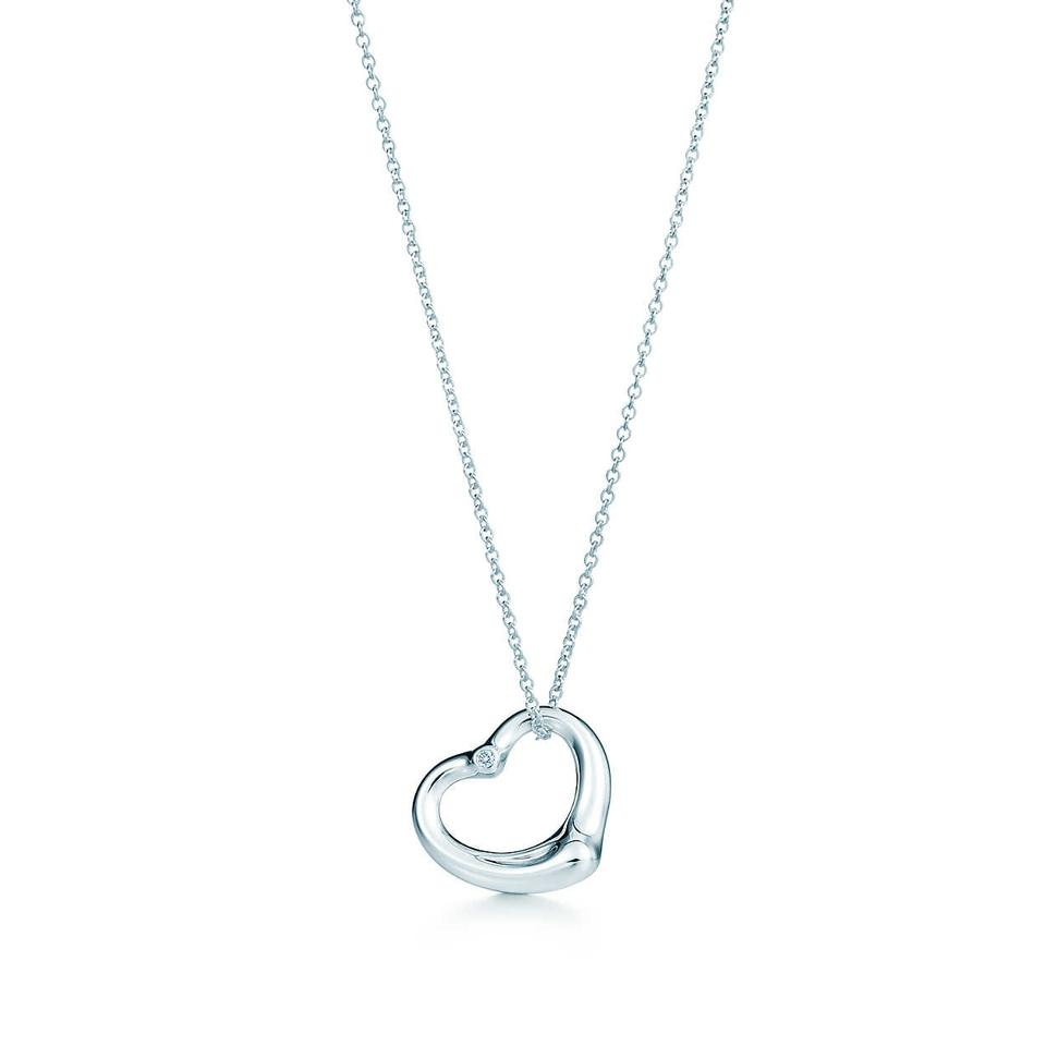Tiffany & Co. Silver Elsa Peretti Open Heart Pendant With Diamond Chain  Necklace With Regard To Newest Open Heart Necklaces (Gallery 10 of 25)