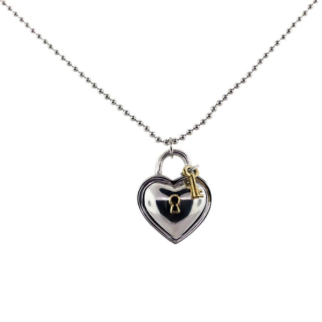 Tiffany & Co. Silver Heart Shaped Lock And Key Pendant Throughout Latest Heart Shaped Padlock Necklaces (Gallery 9 of 25)