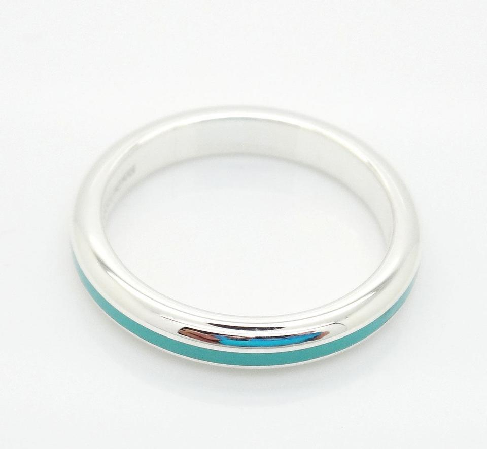 Tiffany & Co. Sterling Silver 925 Blue Stripe Enamel Band Size 5.5 Ring In Most Recent Blue Stripes Rings (Gallery 7 of 25)