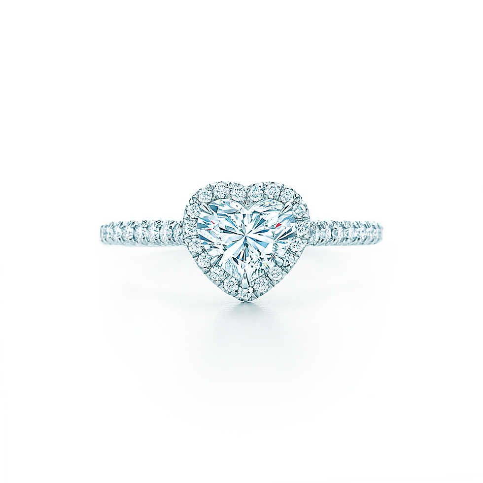 Tiffany Soleste® Heart Shape Halo Engagement Ring With Diamond Band Intended For 2018 Beaded Two Hearts Open Rings (View 20 of 25)
