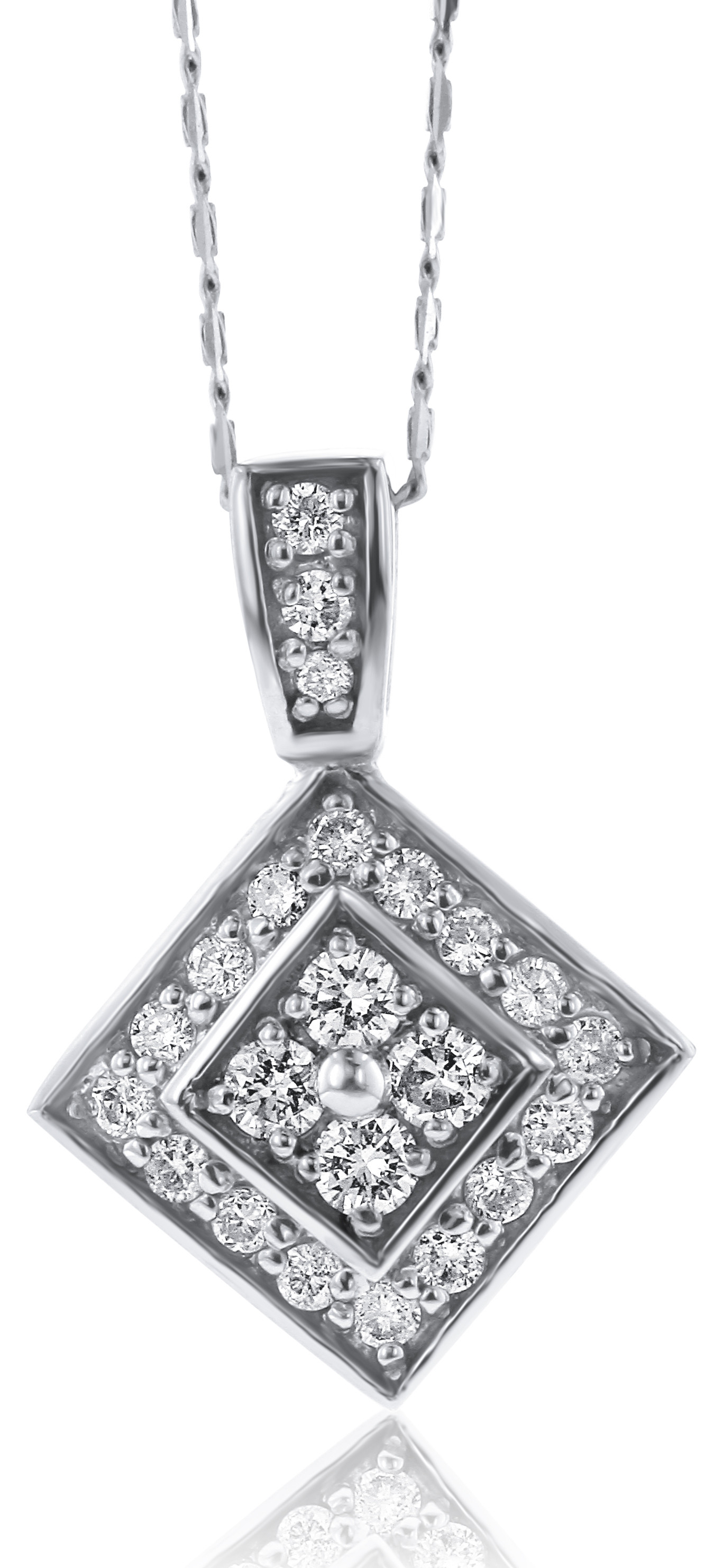 Tilted Square Diamond Necklace Set In 14K White Gold (0.56Ct) Inside Newest Sparkling Square Halo Pendant Necklaces (Gallery 19 of 25)