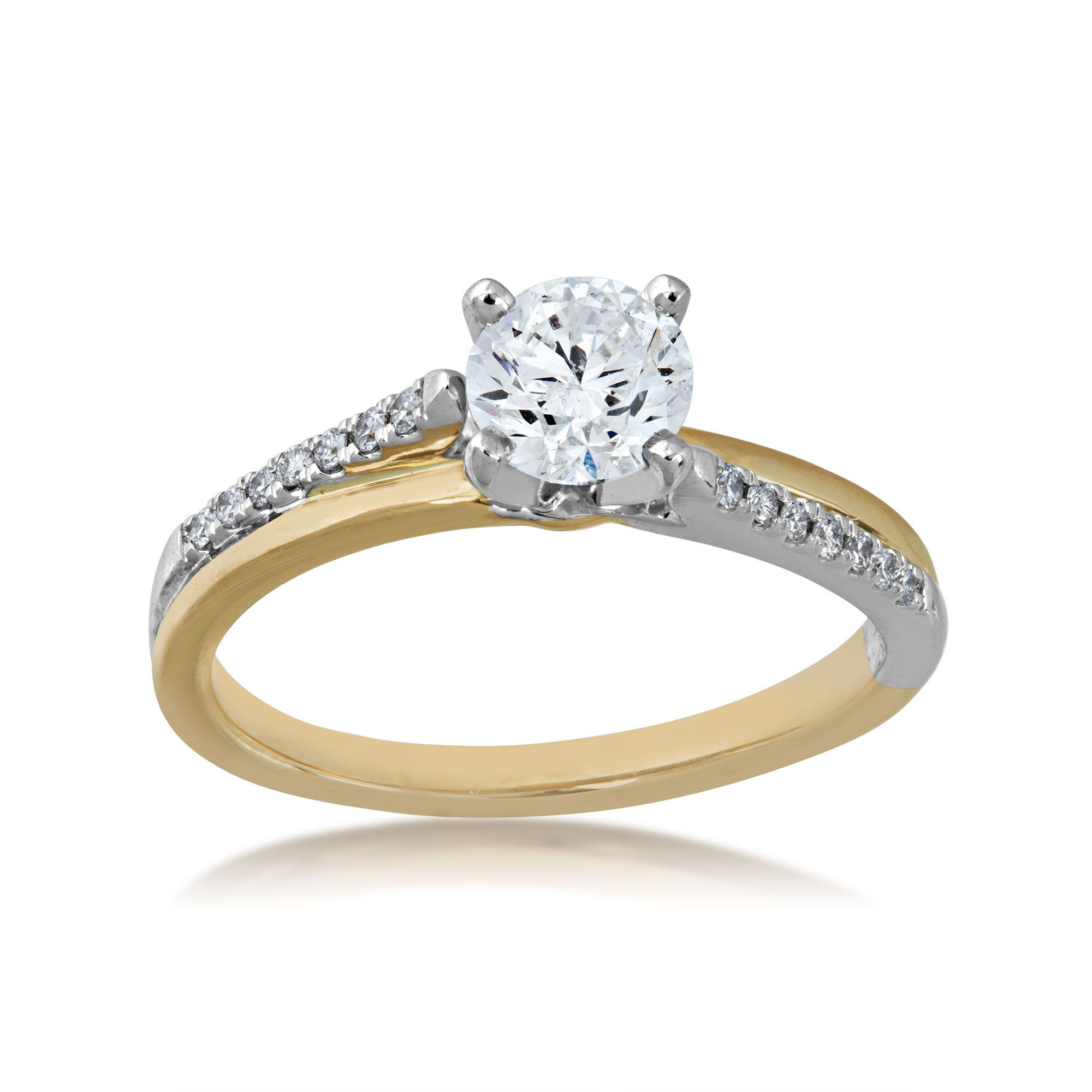 Timeless Collection 3/4 Ct. Round Diamond Engagement Ring With 1/10 Ct (View 16 of 25)