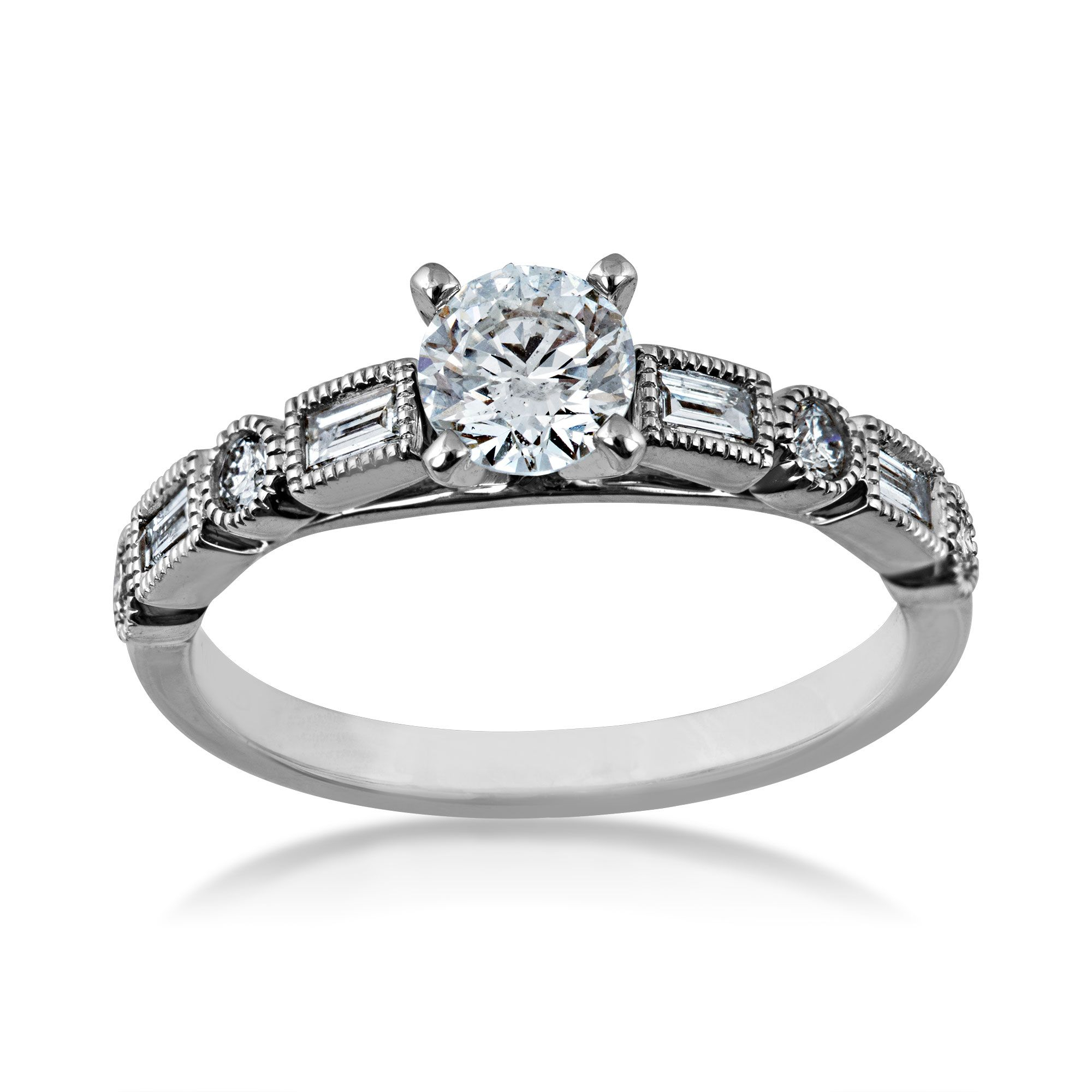 Timeless Collection 3/4 Ct. Tw. Round Brilliant Diamond Engagement Ring  With Round & Straight Baguette Diamond Band Accents In 14K White Gold – Intended For Recent Round And Baguette Diamond Vintage Style Anniversary Bands In White Gold (Gallery 16 of 25)