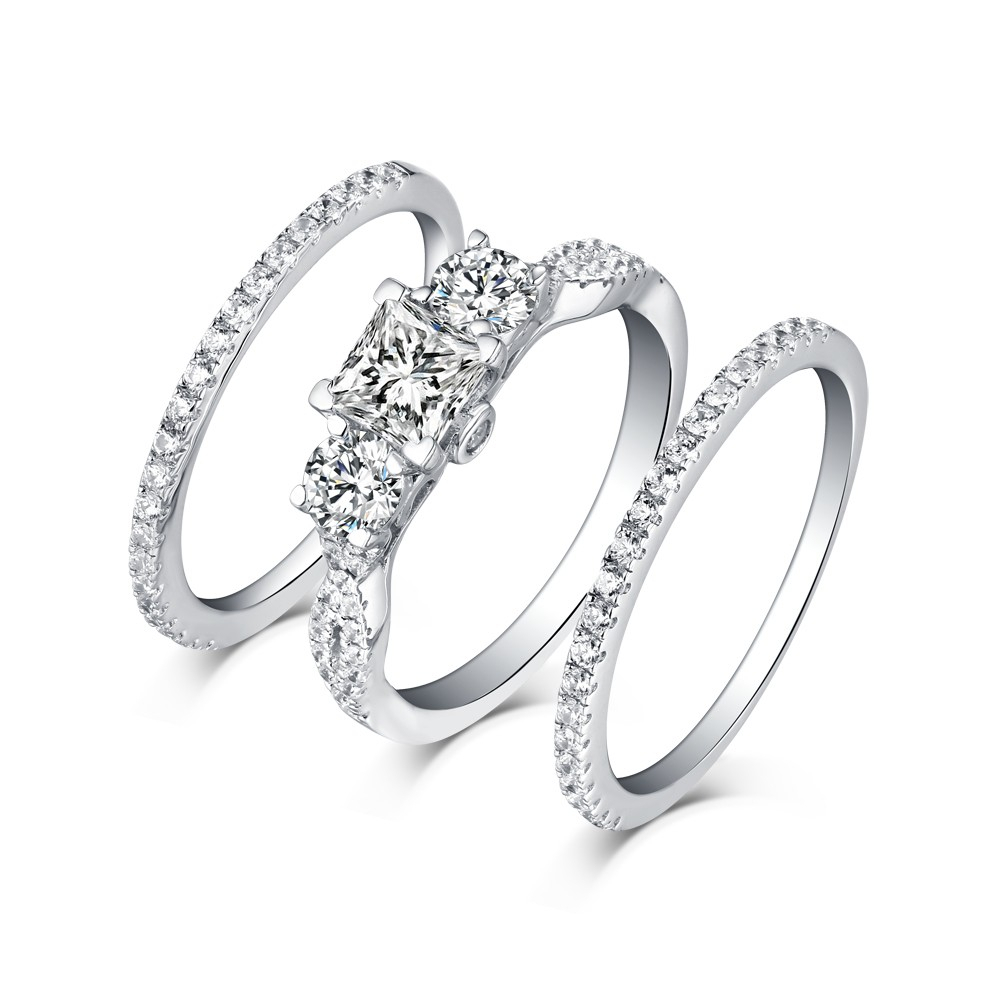 """Tinnivi Classic Sterling Silver 3 Stone Princess Cut Created White Sapphire  3Pc Wedding Ring Set For Latest Diamond Seven Stone """"s"""" Anniversary Bands In Sterling Silver (Gallery 10 of 25)"""
