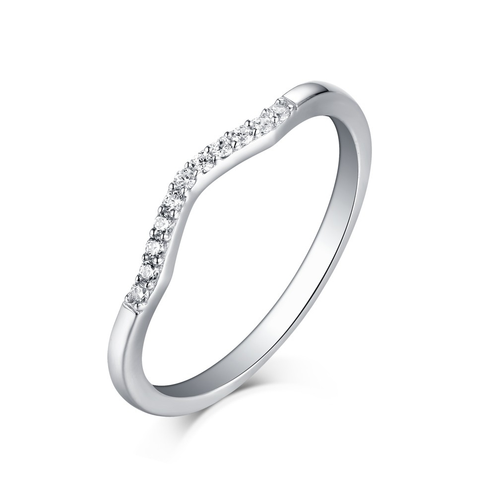 """Tinnivi Sterling Silver Round Cut Created White Sapphire Curved Wedding Band With Best And Newest Diamond Seven Stone """"s"""" Anniversary Bands In Sterling Silver (Gallery 21 of 25)"""