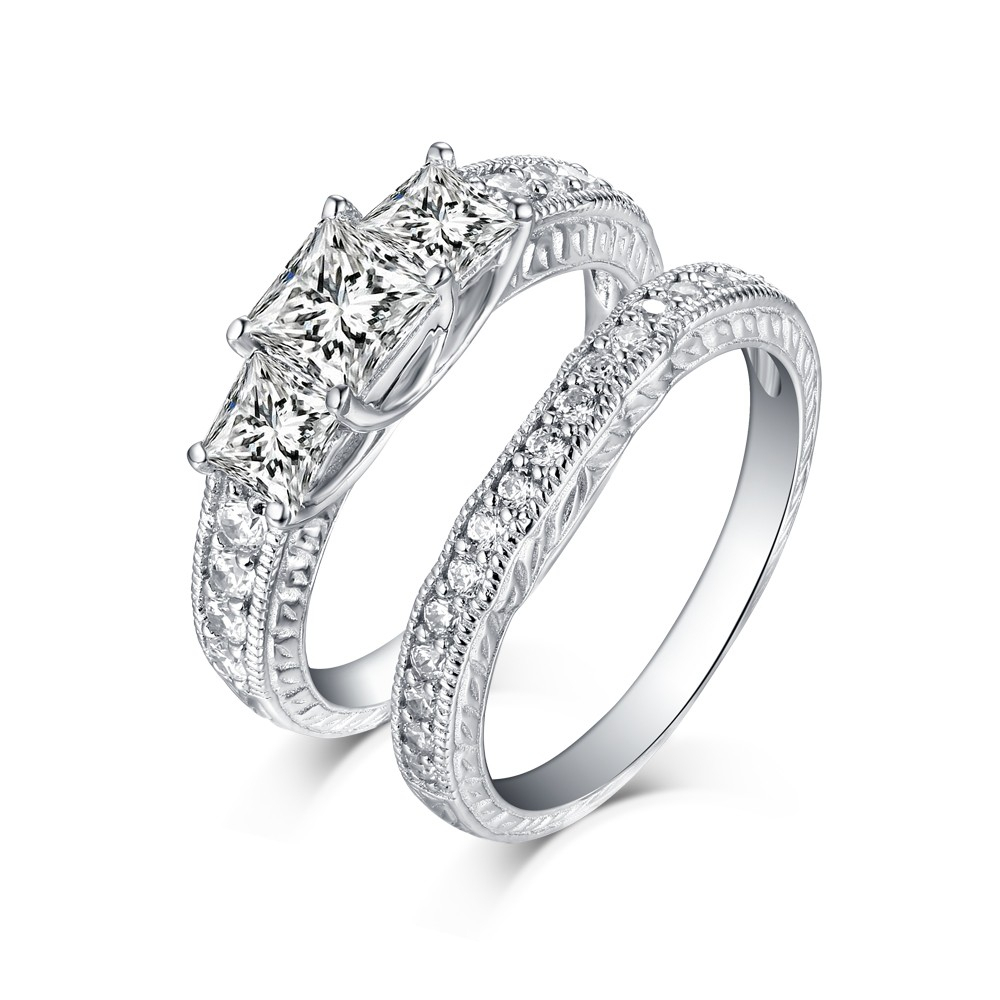 """Tinnivi Vintage Sterling Silver Princess Cut Created White Sapphire 3 Stone Wedding Ring Set In 2019 Diamond Seven Stone """"s"""" Anniversary Bands In Sterling Silver (View 11 of 25)"""