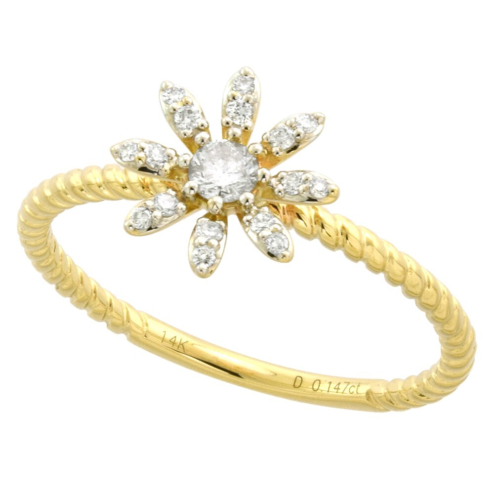 Tiny 14K Yellow Gold Diamond Daisy Flower Ring For Women Rope Shank 3/8  Inch 0.16 Cttw Size 5 9 With Most Popular Daisy Flower Rings (Gallery 22 of 25)