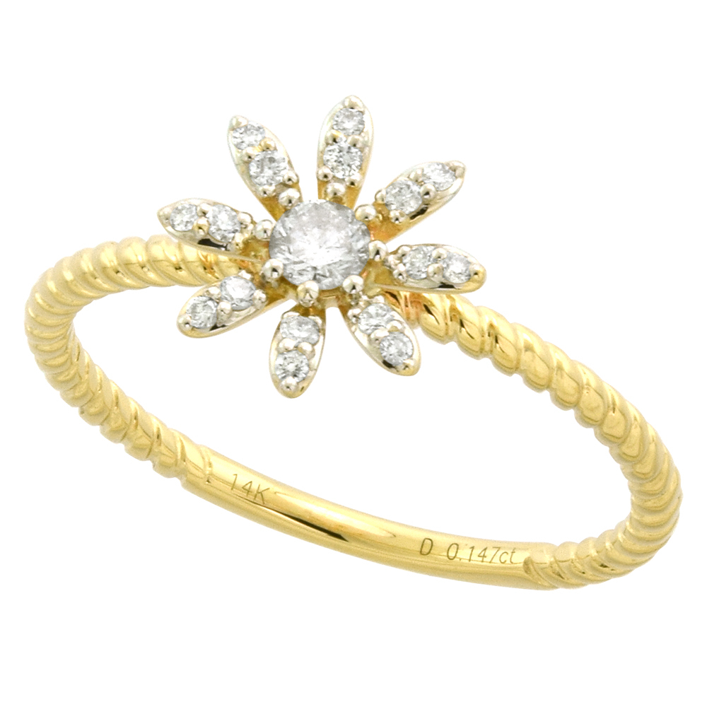 Tiny 14K Yellow Gold Diamond Daisy Flower Ring For Women Rope Shank 3/8  Inch  (View 20 of 25)