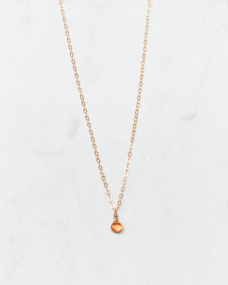 Tiny Citrine Drop Necklace. 14kt Gold Filled. November Birthstone. Autumn Birthdays Present. Warm Rich Sunny Citrine Quartz (View 4 of 25)