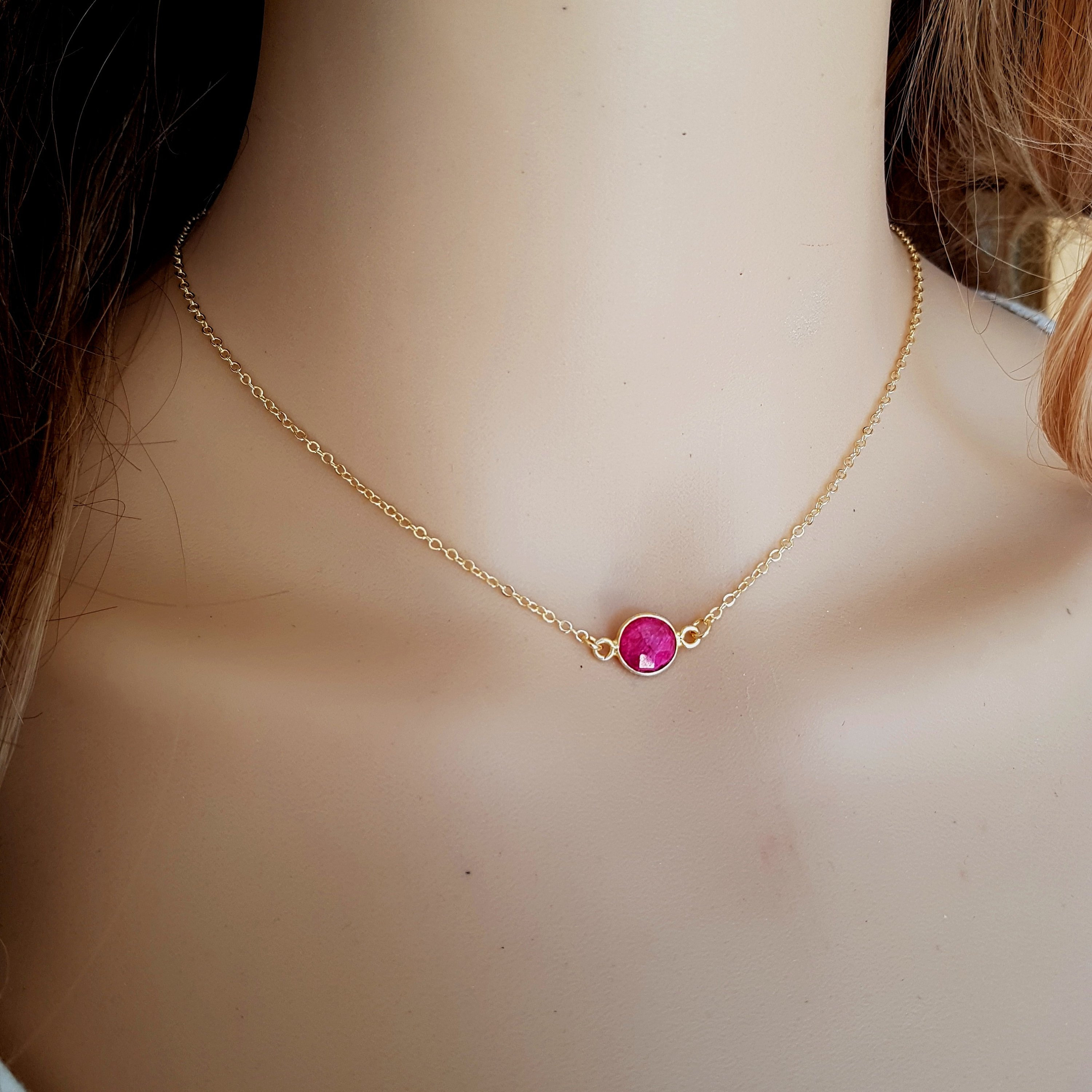 Tiny Red Ruby Necklace Choker 18K Gold Fill Small Red Gemstone Regarding Best And Newest Red July Birthstone Locket Element Necklaces (View 24 of 25)