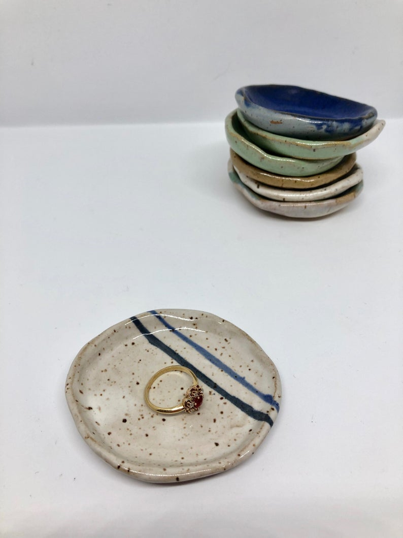 Tiny Ring Dish White With Blue Stripes For Most Up To Date Blue Stripes Rings (Gallery 12 of 25)
