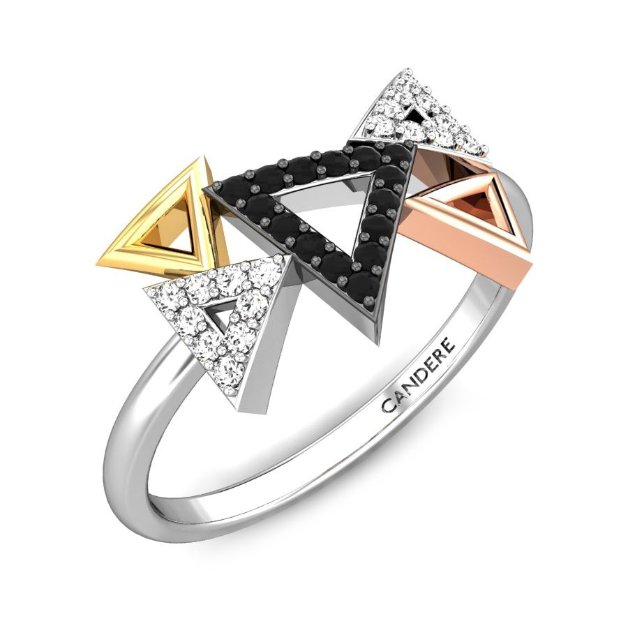 Tiny Triangles Diamond Ring Within Latest Diamond Multi Triangle Anniversary Rings In White Gold (View 18 of 25)