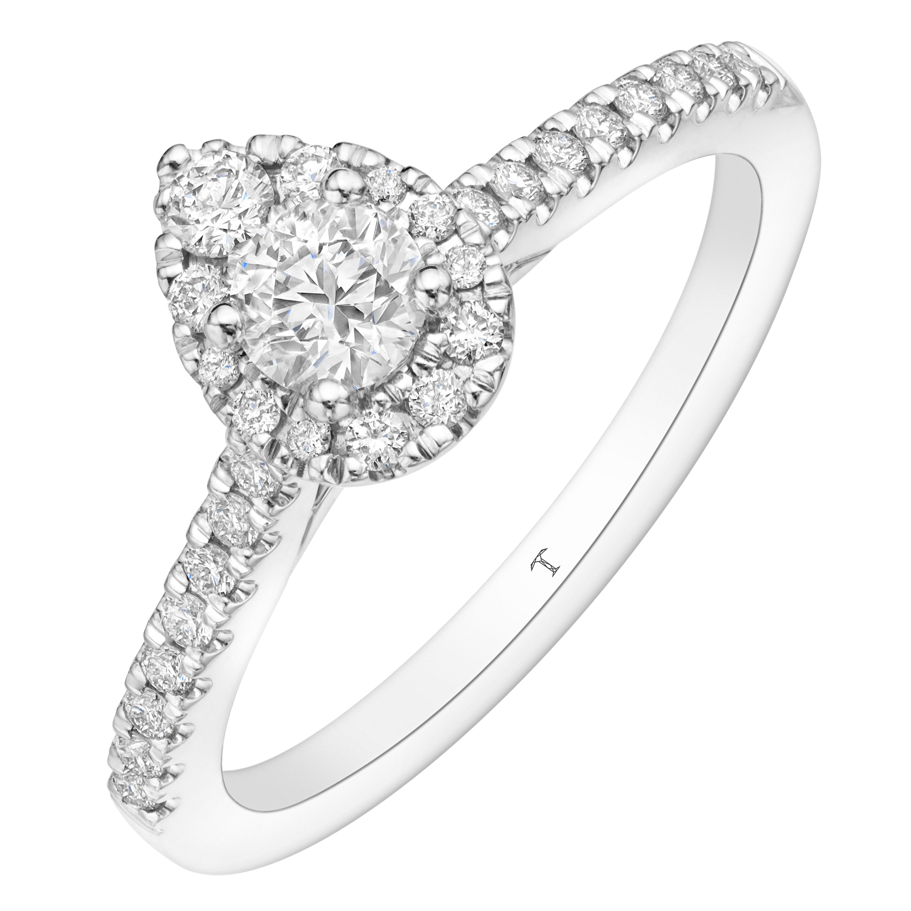 Tolkowsky 18ct White Gold 1/2ct Diamond Pear Halo Ring | The Throughout 2017 Sparkling Teardrop Halo Rings (View 14 of 25)