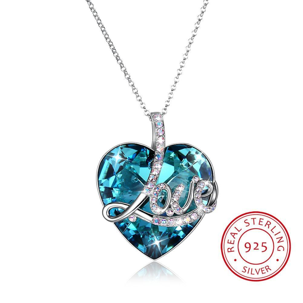 Top Quality Crystals From Swarovski Element Colorful Heart Pendant S925 Sterling Silver Necklace Long Chain Lovers Valentine S Day Gift Within Most Popular Letter V Alphabet Locket Element Necklaces (View 17 of 25)