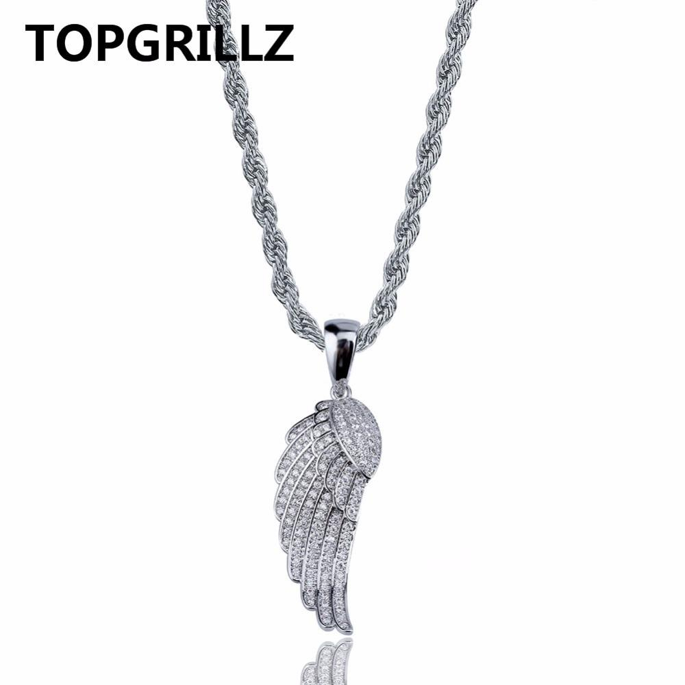 Topgrillz Hiphop Angel Wings Pendant Necklace Copper Gold/silver Color  Plated Iced Out Micro Paved Cz Women Jewelry Three Chains With Regard To Most Recently Released Angel Wing Pendant Necklaces (View 25 of 25)