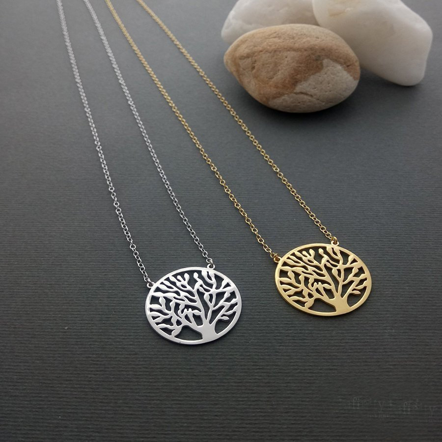 Tree Of Life 14K Necklace, Solid Gold Jewelry, Tree Of Life 9K Pendant,  Tree Of Life 18K Necklace, Bridesmaid Gift, Family Tree Regarding Most Up To Date Twinkling Christmas Tree Locket Element Necklaces (View 21 of 25)