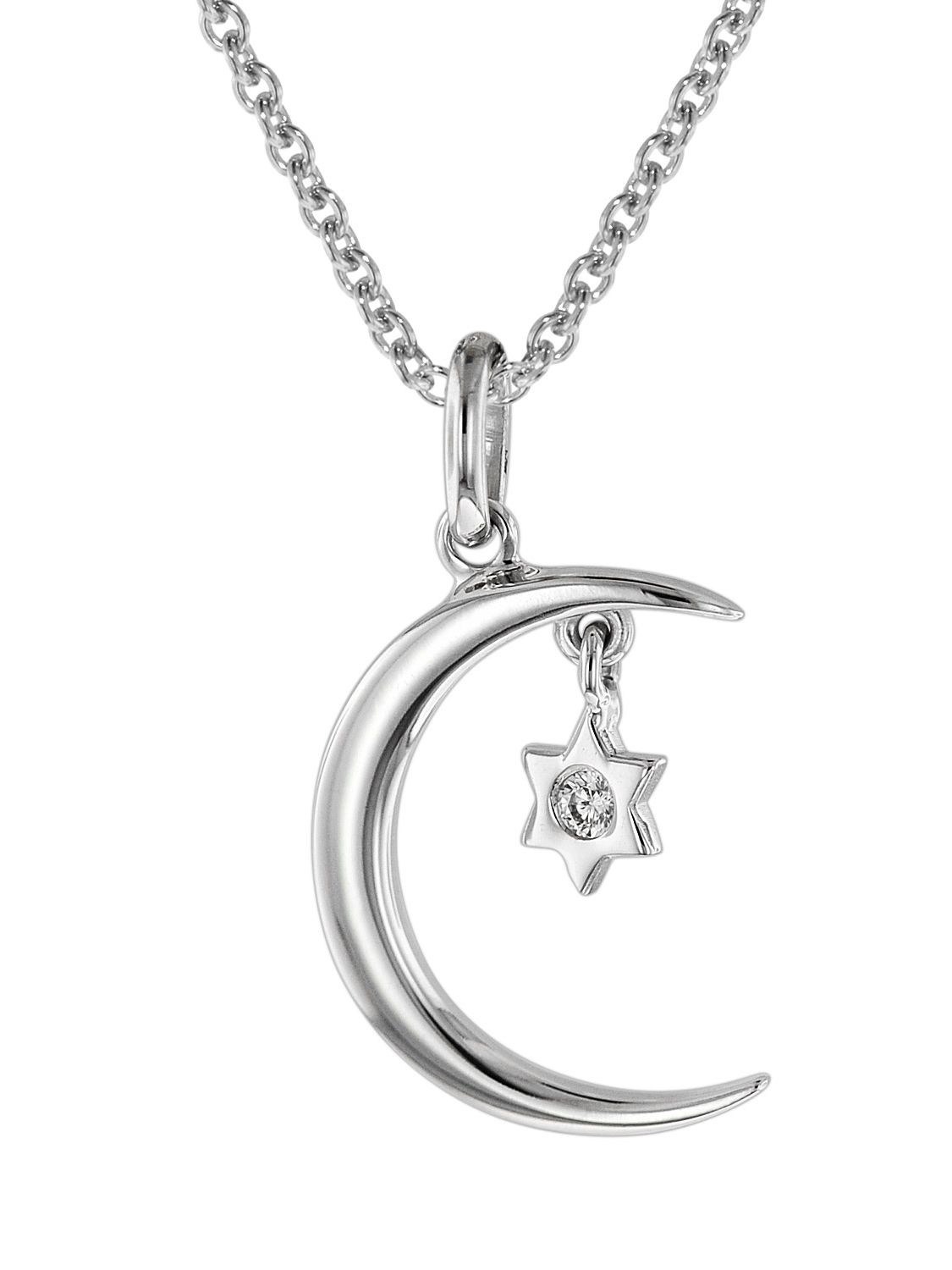 Trendor 75016 Necklace Crescent Moon And Star 925 Silver With Regard To Latest Polished Moon & Star Pendant Necklaces (View 3 of 25)
