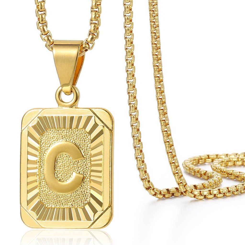 Trendsmax Initial Letter C Pendant Necklace Gold Filled Square Regarding Most Up To Date Letter C Alphabet Locket Element Necklaces (View 11 of 25)